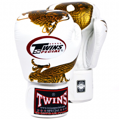Twins Dragon Boxing Gloves - White/Gold